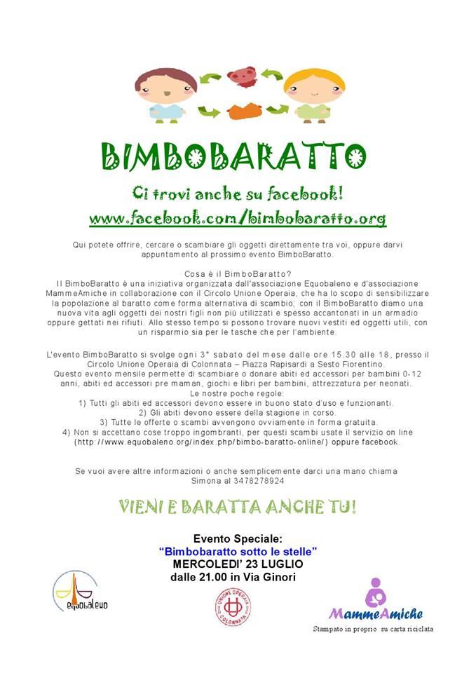 """Il mercatino di libero scambio """"Bimbobaratto"""" in edizione speciale mercoledì 23.07.2014 a """"Colonnata sotto le stelle 2014"""""""